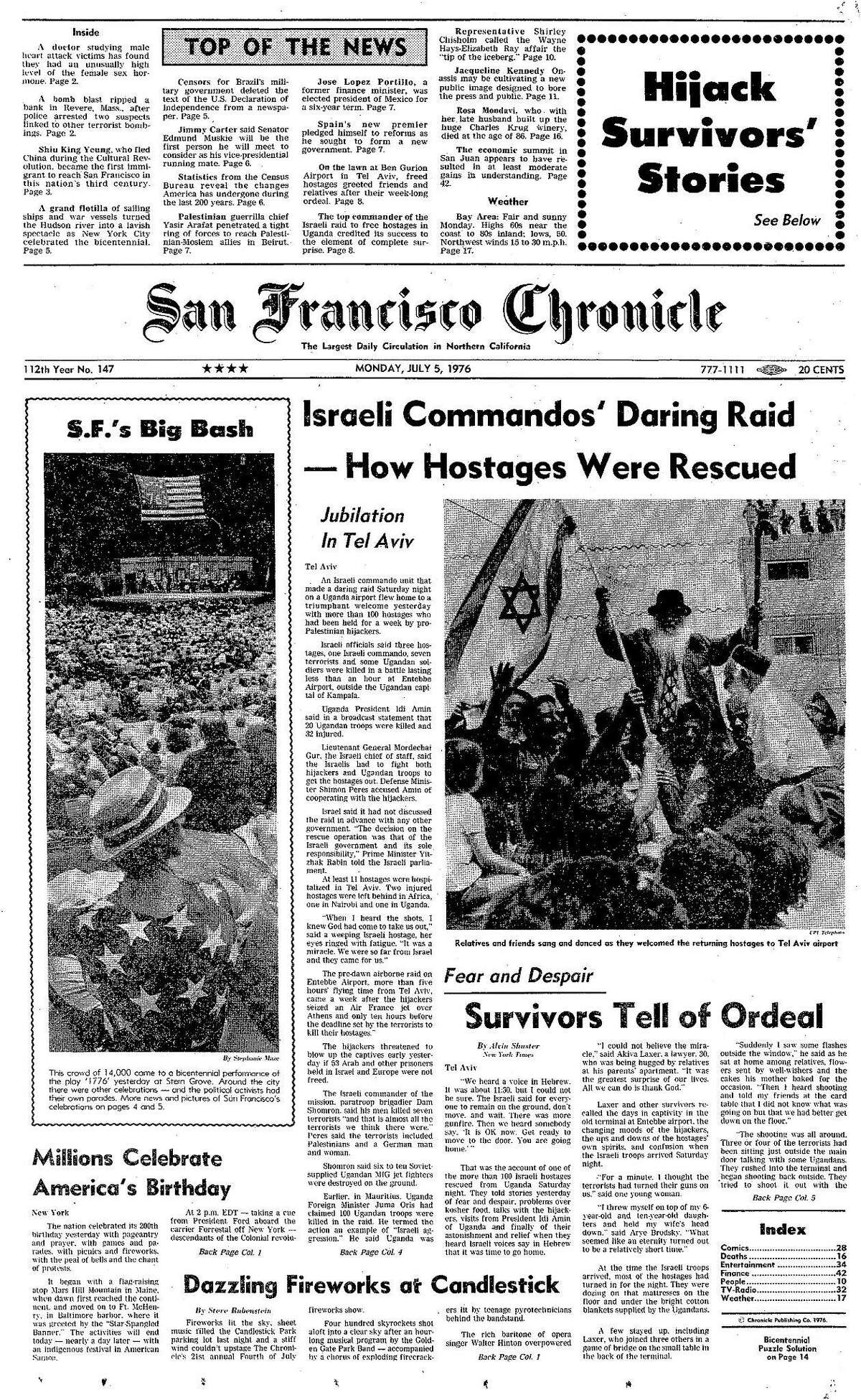 Historic Chronicle Front Page July 05, 1976 front page San Francisco celebrates Double Bicentennial Chron365, Chroncover