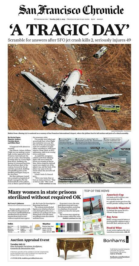 The Chronicle's front page from July 7, 2013, covers the Asiana Airlines jet crash at San Francisco International Airport.