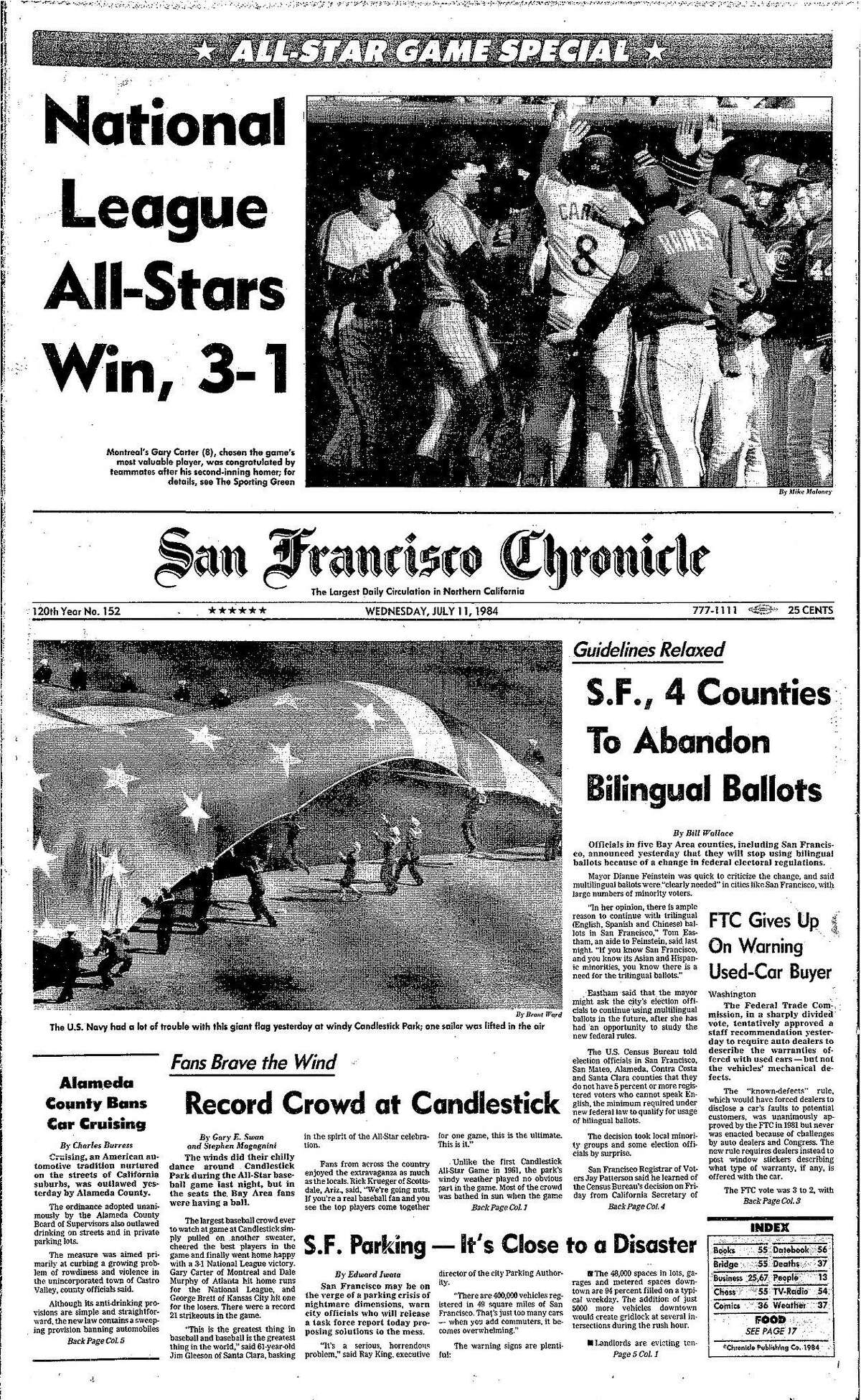 Historic Chronicle Front Page July 11, 1984 front page 1984 All-Star game at Candlestick Chron365, Chroncover
