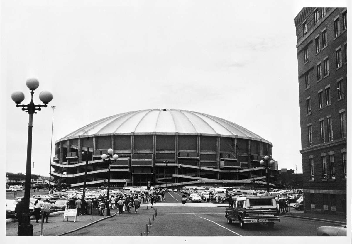 The Kingdome: The Kingdome opened and hosted its first games in 1976. The first game in the Dome was the NASL's New York Cosmos and Seattle Sounders on April 25, with 58,128 fans in attendance. The Seahawks and the Mariners played there, too, of course. The Dome finally fell (in its entirety, not just a few ceiling tiles) when it was demolished in 2000. But don't worry, King County was still paying off its bonds until 2015. Photo caption: The exterior of the Kingdome is shown before the San Francisco 49ers game against the Seattle Seahawks on September 26, 1976 in Seattle, Washington. The Niners defeated the Seahawks 37-21.