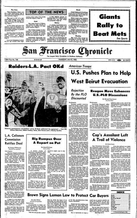 The Chronicle's front page from July 8, 1982, covers the deal to move the Oakland Raiders to Los Angeles.