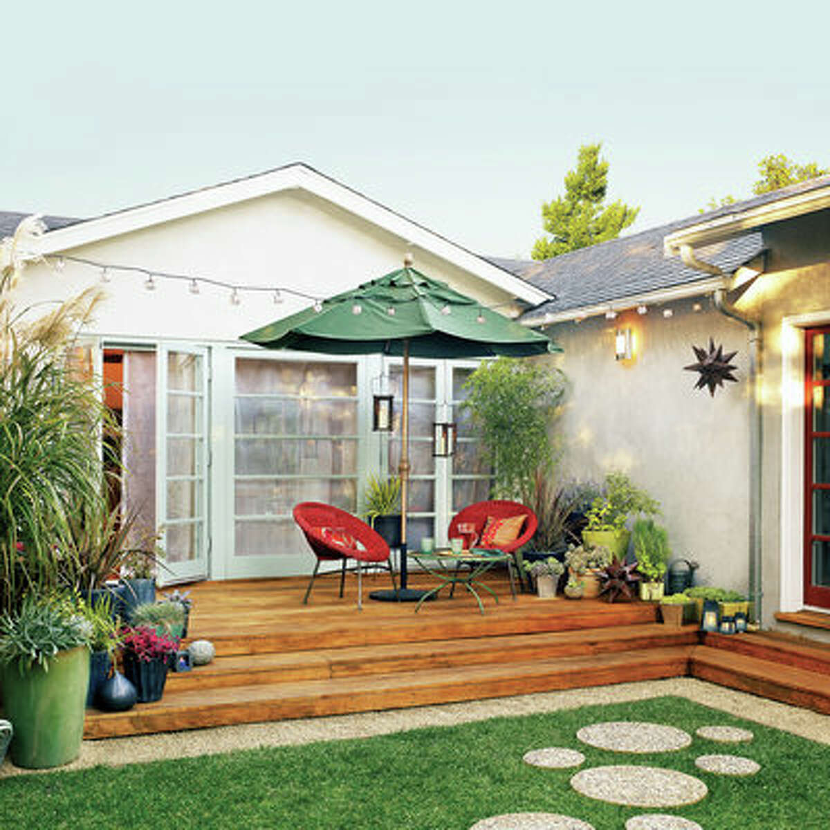 Small space update Creating a colorful outdoor living room from an unruly yard can seem intimidating. But by breaking down the process into a series of manageable tasks, busy parents Trina and Mark Whiteley were able to refresh their small Palo Alto, CA deck. See how they did it