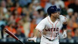 Jose Altuve watches Wednesday's homer take flight. He has been hitting at an MVP pace this season.