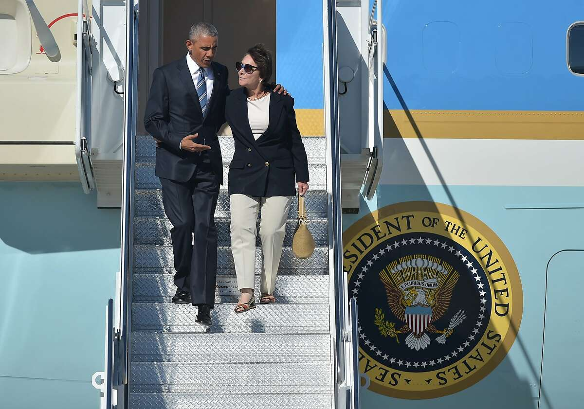 President Barack Obama and Rep. Anna Eshoo step off Air Force One upon arrival at Moffett Federal Airfield, in Mountain View, California on June 23, 2016.