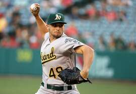 ANAHEIM, CA - JUNE 23:  Kendall Graveman #49 of the Oakland Athletics pitches during the first inning of a baseball game against the Oakland Athletics at Angel Stadium of Anaheim on June 23, 2016 in Anaheim, California.  (Photo by Sean M. Haffey/Getty Images)