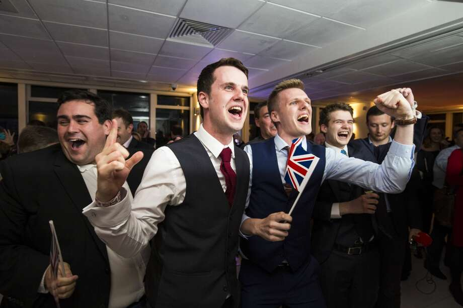 People react to a regional EU referendum result at the Leave.EU campaign's referendum party at Millbank Tower on June 23, 2016 in London, England. The United Kingdom has gone to the polls to decide whether or not the country wishes to remain within the European Union. After a hard fought campaign from both REMAIN and LEAVE the vote is too close to call. A result on the referendum is expected on Friday morning.(Photo by Jack Taylor/Getty Images) Photo: Jack Taylor/Getty Images
