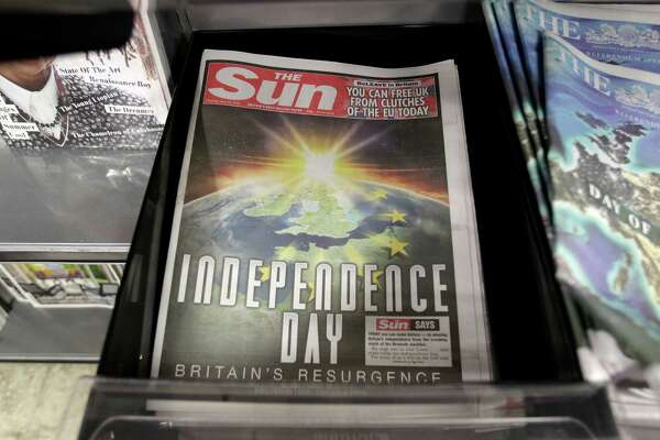 The front page of the Sun newspaper reporting on the EU referendum on a news stand in Westminster, London, Thursday, June 23, 2016.Voters in the United Kingdom are taking part in a referendum that will decide whether Britain remains part of the European Union or leaves the 28-nation bloc. (AP Photo/Tim Ireland)