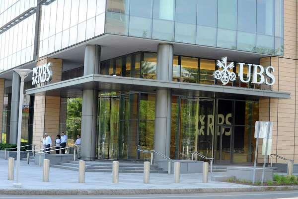 A shared entrance for RBS and UBS offices in Stamford, Conn. on June 20, 2016. Shares of the two companies dropped Friday, June 24, 2016 after the United Kingdom voted to exit the European Union.
