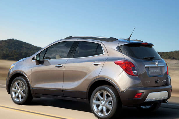 The Buick Encore small crossover starts under $25,000 and is powered by a 1.4-liter turbocharged four-cylinder engine, available in two versions. Both are connected to a six-speed automatic transmission.