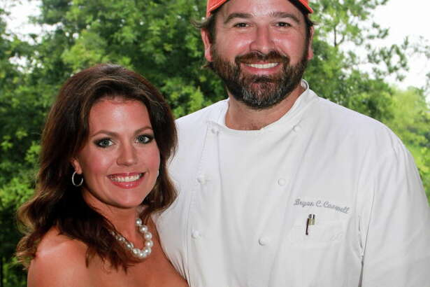 Jennifer and chef Bryan Caswell at the Delicious Alchemy dinner. (For the Chronicle/Gary Fountain, May 19, 2016)