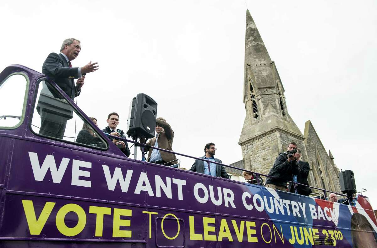 UK Independence Party leader Nigel Farage (R) campaigns for Brexit in Sittingbourne on June 13. There are similar themes present in U.S. presidential campaigning,