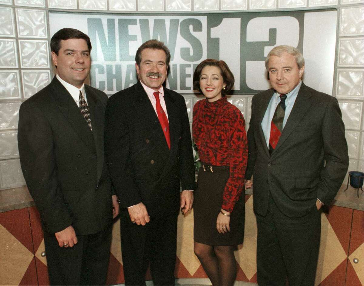 Times Union Staff Photo by STEPHEN WEAVER. DECEMBER 11, 1995. CHANNEL 13 NEWS TEAM. (FROM LEFT) RODGER WYLAND, BOB KOVACHICK, CHRIS KAPOSTASY AND ED DAGUE.