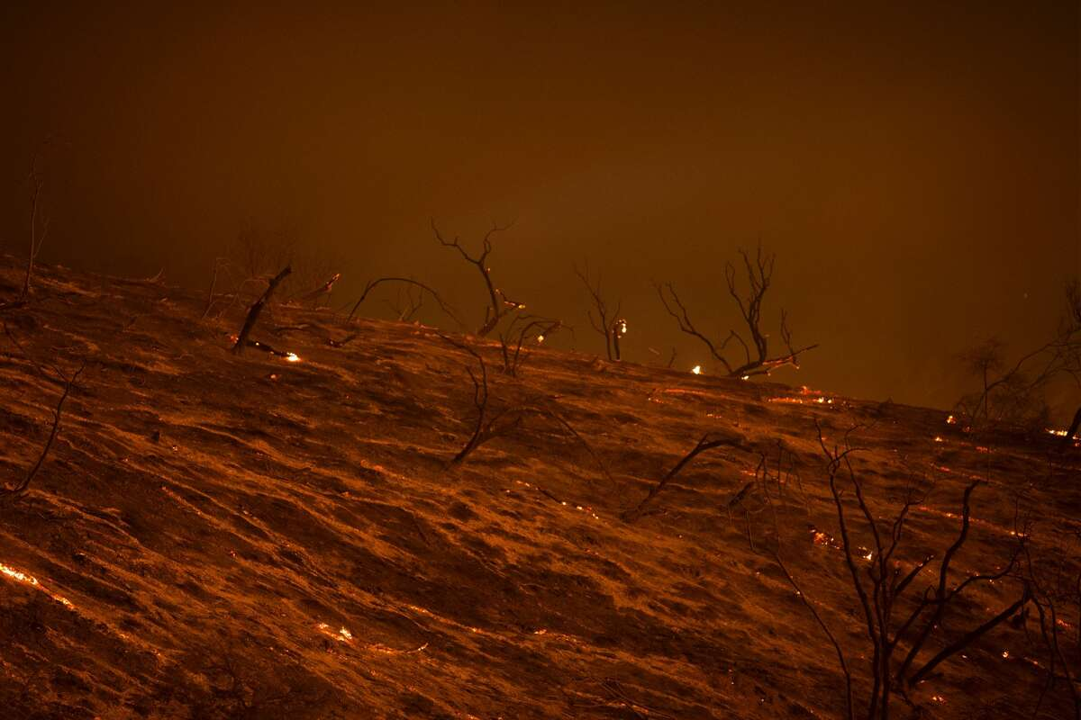 A freshly scorched landscape is seen in the early morning hours of June 18, 2016 at the Sherpa Fire near Santa Barbara, California.