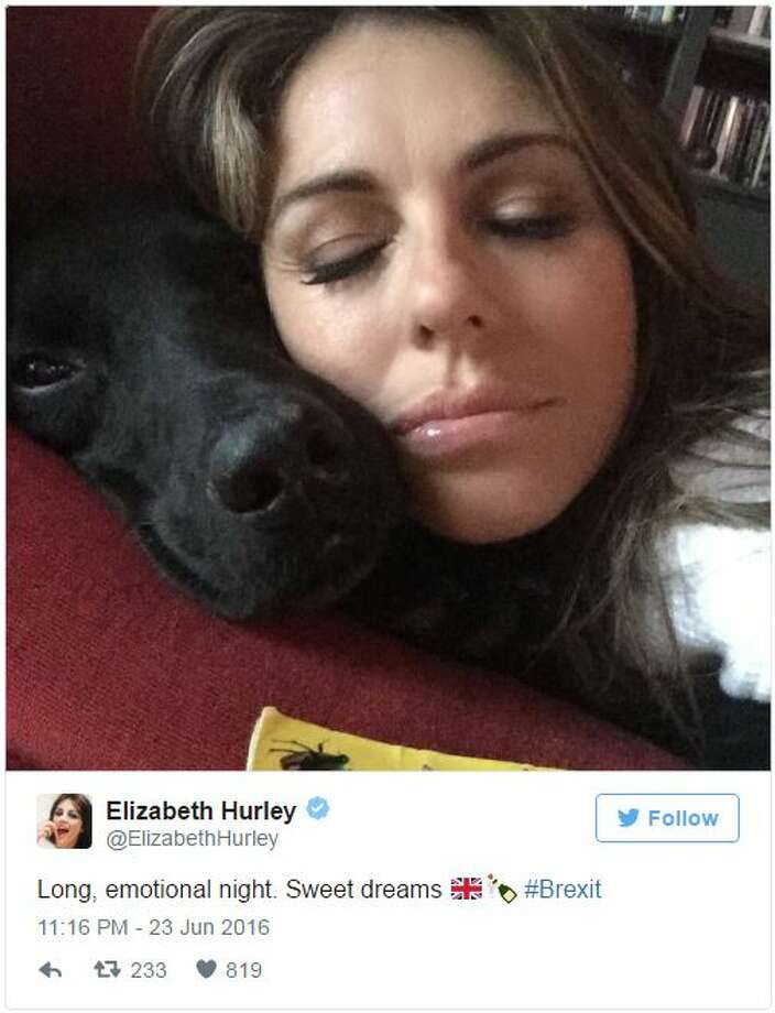 "Notable celebrities expressed despair and triumph on social media after voters in Great Britain decided to leave the European Union, commonly dubbed ""Brexit.""  Photo: @ElizabethHurley"