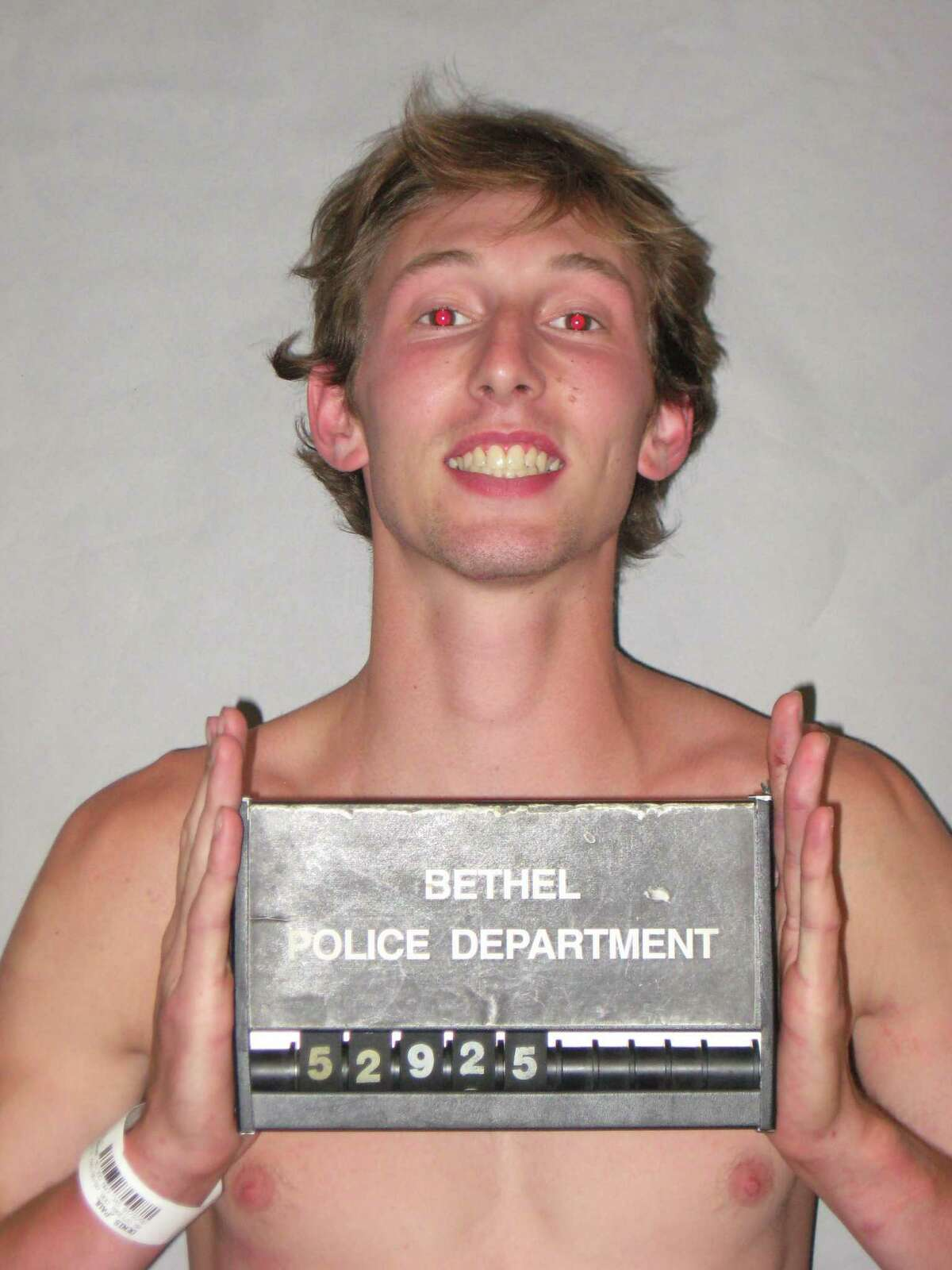 Paul Denis, 23, of Fire Hill Road in Ridgefield, failed to stop and led police on a low speed chase through the downtown area on Tuesday, June 21, 2016. During the chase, police said Denis was hanging out of his window and yelling incoherently. Denis was charged with driving while under the influence, evading responsibility, failure to stop and a stop sign, operating under suspension, interfering with an officer and being in possession of less than a half ounce of marijuana. He was released into his mother's custody after posting a $10,000 bond.