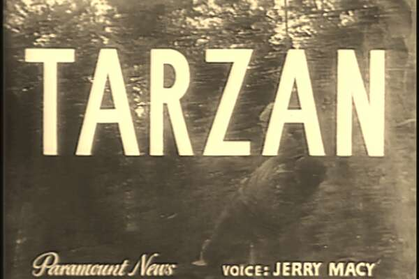 """In April 1944, Paramount News cameras came to Houston to document the living situation of one George Witters, a young World War II vet that was living like a """"Texas Shipyard Tarzan"""" in an area forest."""