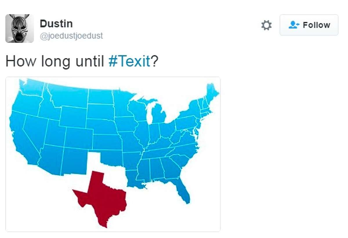 Texas secessionists are calling for a statewide vote to leave the United States after the United Kingdom voted to leave the European Union on Thursday, June 23, 2016. Following the #Brexit hashtag on Twitter, #Texit was born. Here are the internet's funniest responses. Tweeted by @joedustjoedust