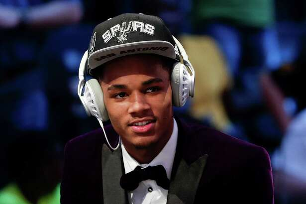 Dejounte Murray answers questions during an interview after being selected 29th overall by the San Antonio Spurs during the NBA draft on June 23, 2016, in New York.