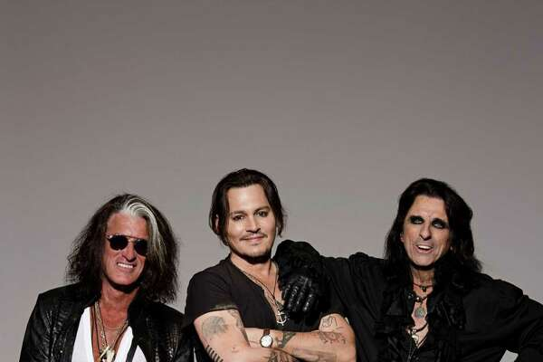 The supergroup Hollywood Vampires performs at Foxwoods Resort Casino on Saturday, July 2. From left are Joe Perry, Johnny Depp and Alice Cooper.