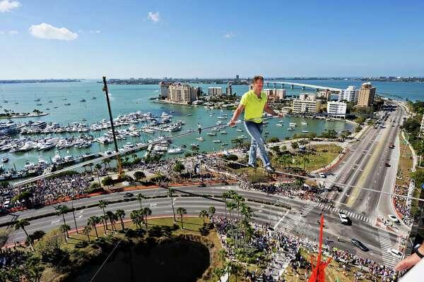 "Nik Wallenda balances on a high wire at Circus Sarasota in 2013 in Sarasota, Fla. Wallenda brings his ""Zirkus"" to Foxwoods Resort Casino."