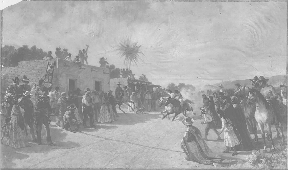 """Sunday recreation of the Spainiards in early California. Title of the painting is """"The Horse Race"""". Photo is from the Chronicle archive."""