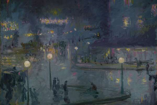 """ Place de Rome at Night ""  (1905) by Theodore Earl Butler, is on display at the Bruce Museum in the ""Electric Paris"" exhibition."