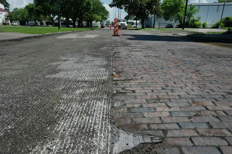 Estimated to predate the Spindletop discovery, a strip of bricks were recently exposed when construction crews began working on North Main in Beaumont.  Photo taken Wednesday, June 22, 2016  Guiseppe Barranco/The Enterprise Photo: Guiseppe Barranco, Photo Editor