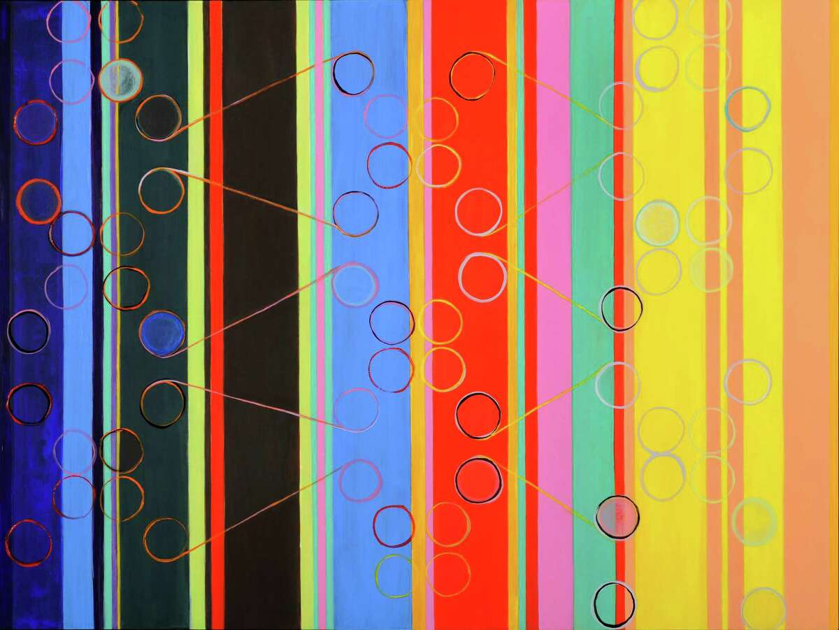 """""""Molecules of Music,"""" an ink, acrylic, enamel on clay board, in 2014, has served as an inspiration for Ellen Hackl Fagan's Reverse Sound Color Organ. She will take photos of the image and use them to become color blocks for her color/sound compositions."""