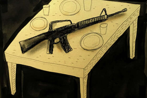 This artwork by Mark Weber refers to the U.S. as a gun society.