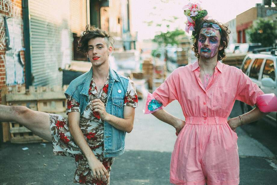 PWR BTTM, a queer punk duo made up of Liv Bruce (left) and Ben Hopkins, plays Slim's on Wednesday, June 27. Photo: Andrew Piccone, Riot Act Media