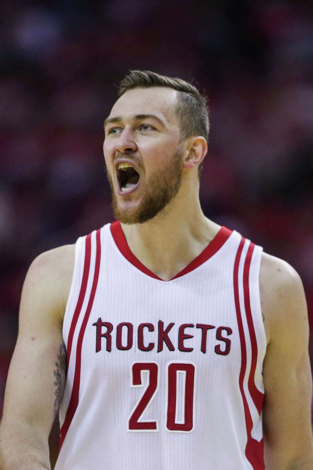 Houston Rockets forward Donatas Motiejunas (20) reacts after getting fouled during the second half in game four of a first-round NBA Playoffs series at Toyota Center Sunday, April 24, 2016 in Houston.