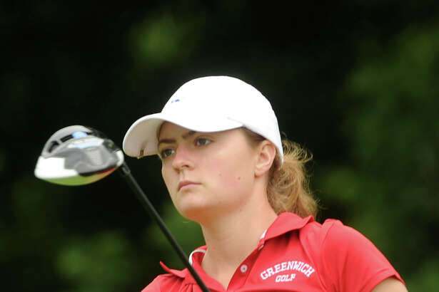 Greenwich's Catherine McEvoy tees off at the Girls Golf State Championship at Orange Hills Country Club in Orange, CT on Tuesday, June 9, 2015.