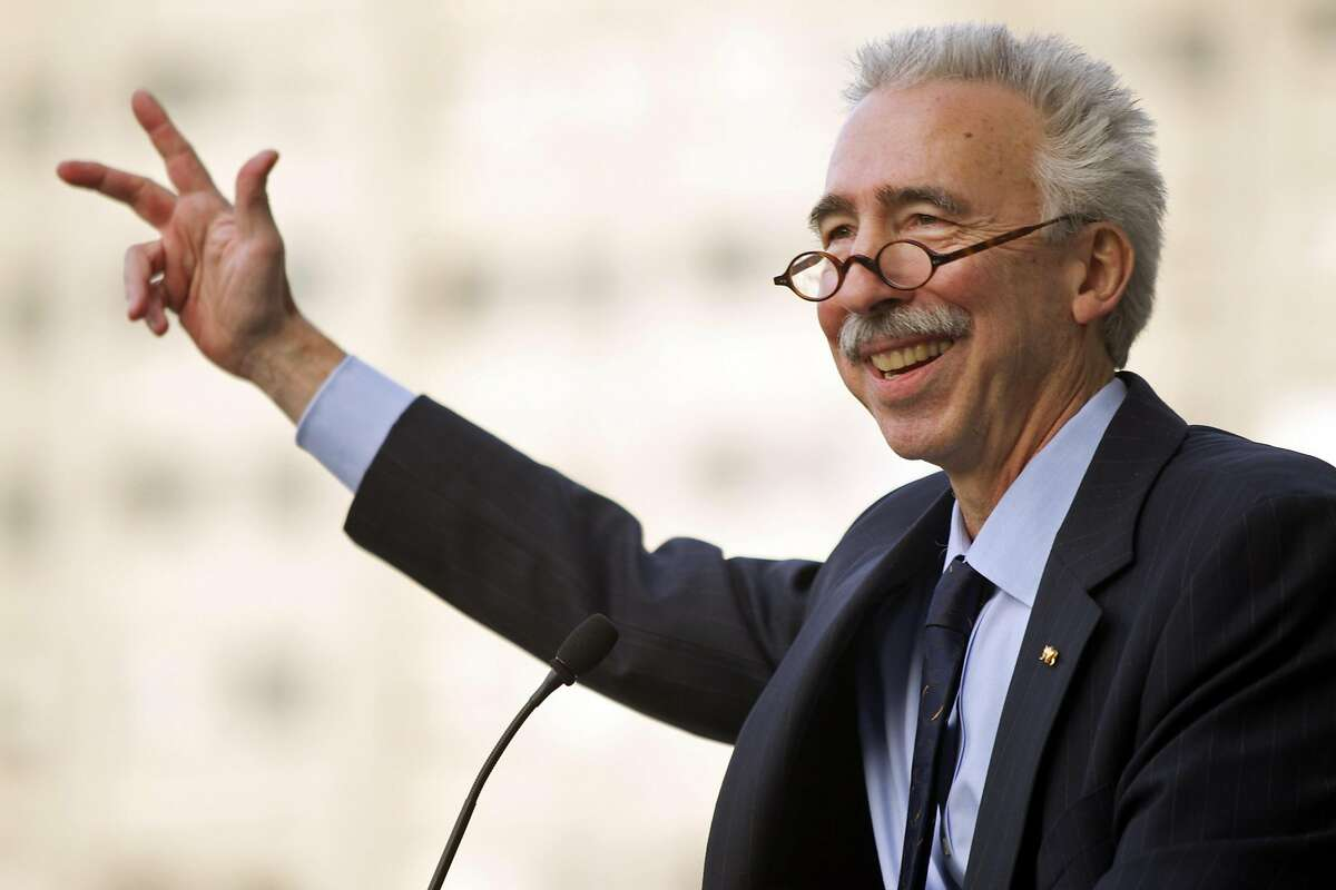 In this Nov. 27, 2012 file photo, UC Berkeley chancellor Nicholas Dirks speaks to students, staff and alumni at a ceremony welcoming Dirks to the campus in Berkeley.