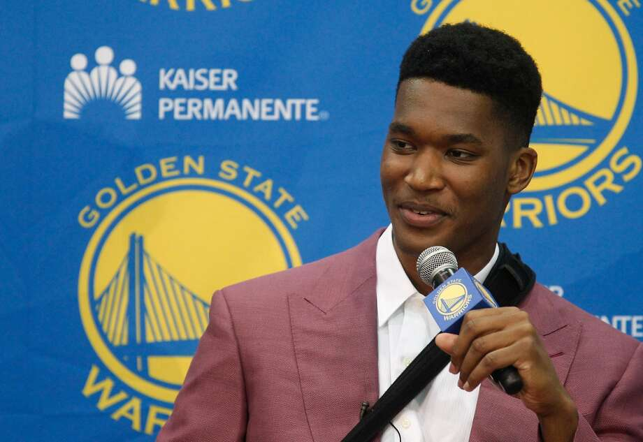 New draft pick Damian Jones answers a question at the Warriors practice facility in Oakland, Calif., on Friday, June 24, 2016. Photo: Mathew Sumner, Special To The Chronicle
