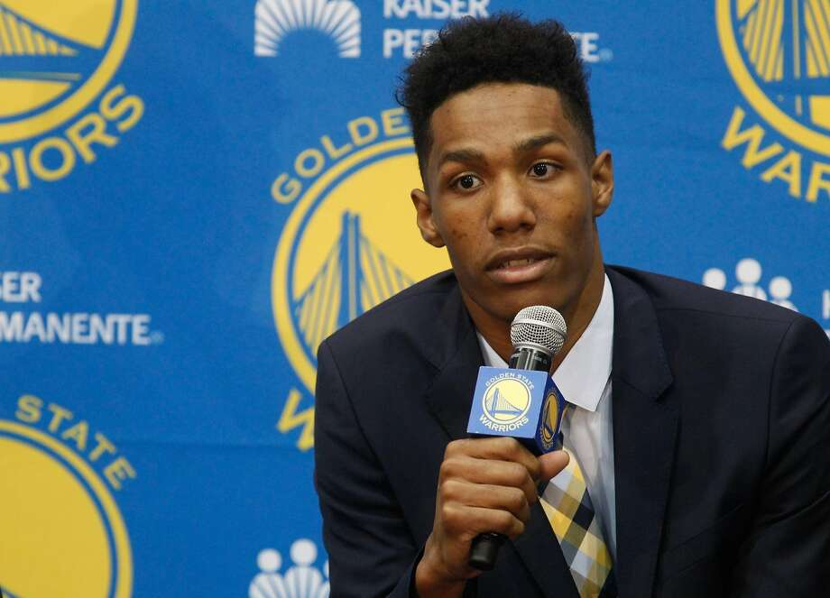 New draft pick Patrick McCaw answers a question at the Warriors practice facility in Oakland on June 24. Photo: Mathew Sumner, Special To The Chronicle