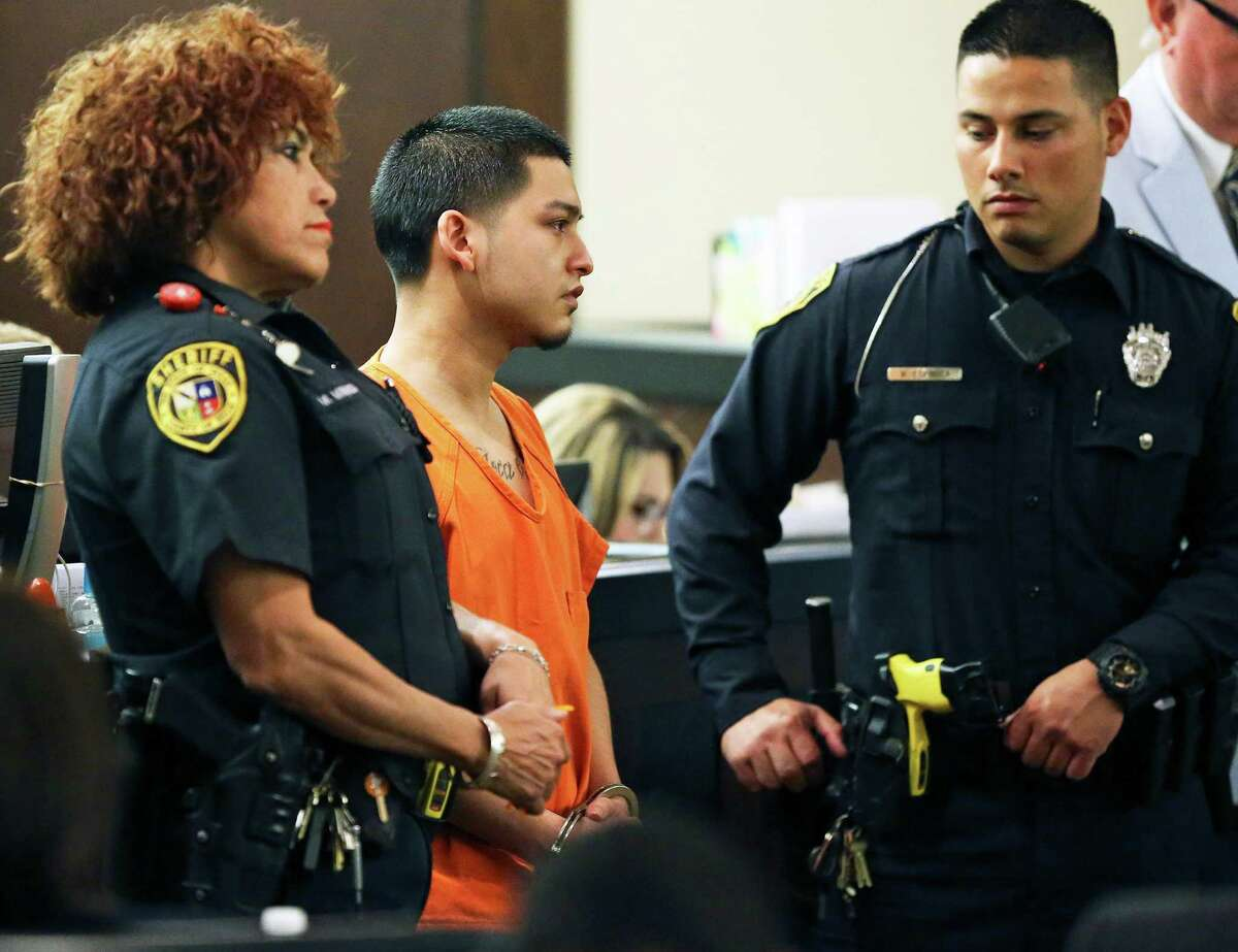 Xavier Gonzalez stands silently as he listens to the mother of murder victim Marcus Cisneros-Lopez offer final remarks after Gonzalez was sentenced to 35 years in prison by Judge Melisa Skinner on Friday.