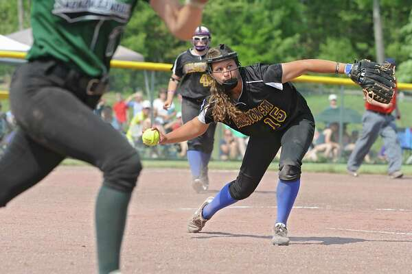 Ballston Spa pitcher Ashlyn Kersch throws Shenendehowa's Ashley Sisto out at first base during the class AA softball final on Friday, May 27, 2016 in Malta, N.Y.  (Lori Van Buren / Times Union)