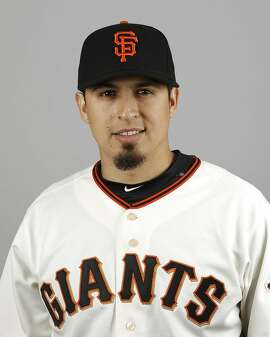 This is a 2016 photo of Ramiro Pena of the San Francisco Giants baseball team. This image reflects the 2016 active roster as of Sunday, Feb. 28, 2016 when this image was taken.  (AP Photo/Morry Gash)