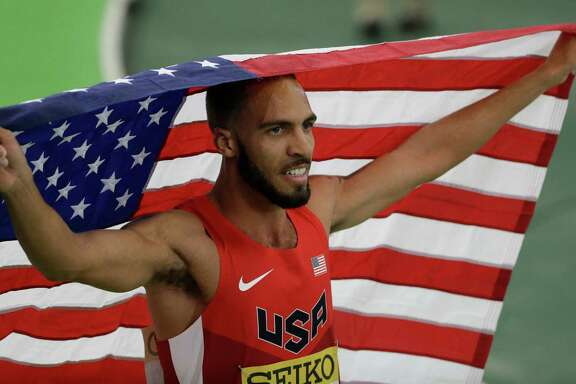 Boris Berian enjoys the moment after he won the men's 800-meter sprint final in March at the World Indoor Athletics Championships in Portland, Ore.