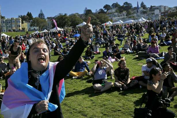Isabel Rosa Araujo screams with others in the crowd for Supervisor Scott Wiener, Mayor Ed Lee and Senator Mark Leno to get off the stage before the annual Trans March from Dolores Park to the Tenderloin June 24, 2016 in San Francisco, Calif. The three left the stage before being allowed to make many remarks after the crowd booed and mooned them. Araujo, who has been homeless for years due to high living costs, is deeply offended by the city's criminalization of sidewalk camping.