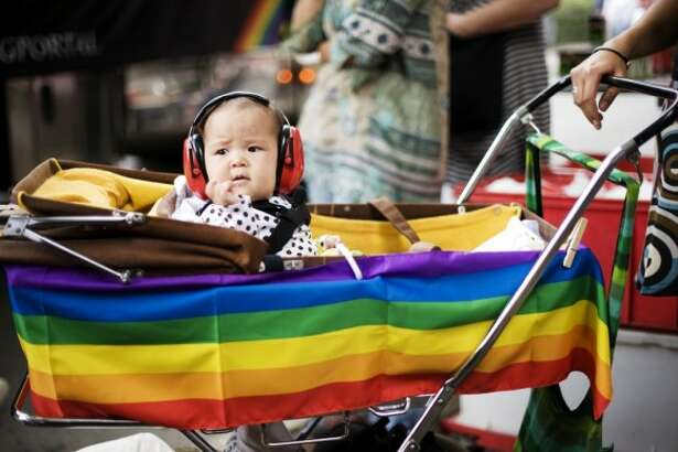 Little ones will appreciate noise protection gear at San Francisco's Gay Pride Parade. (Getty)