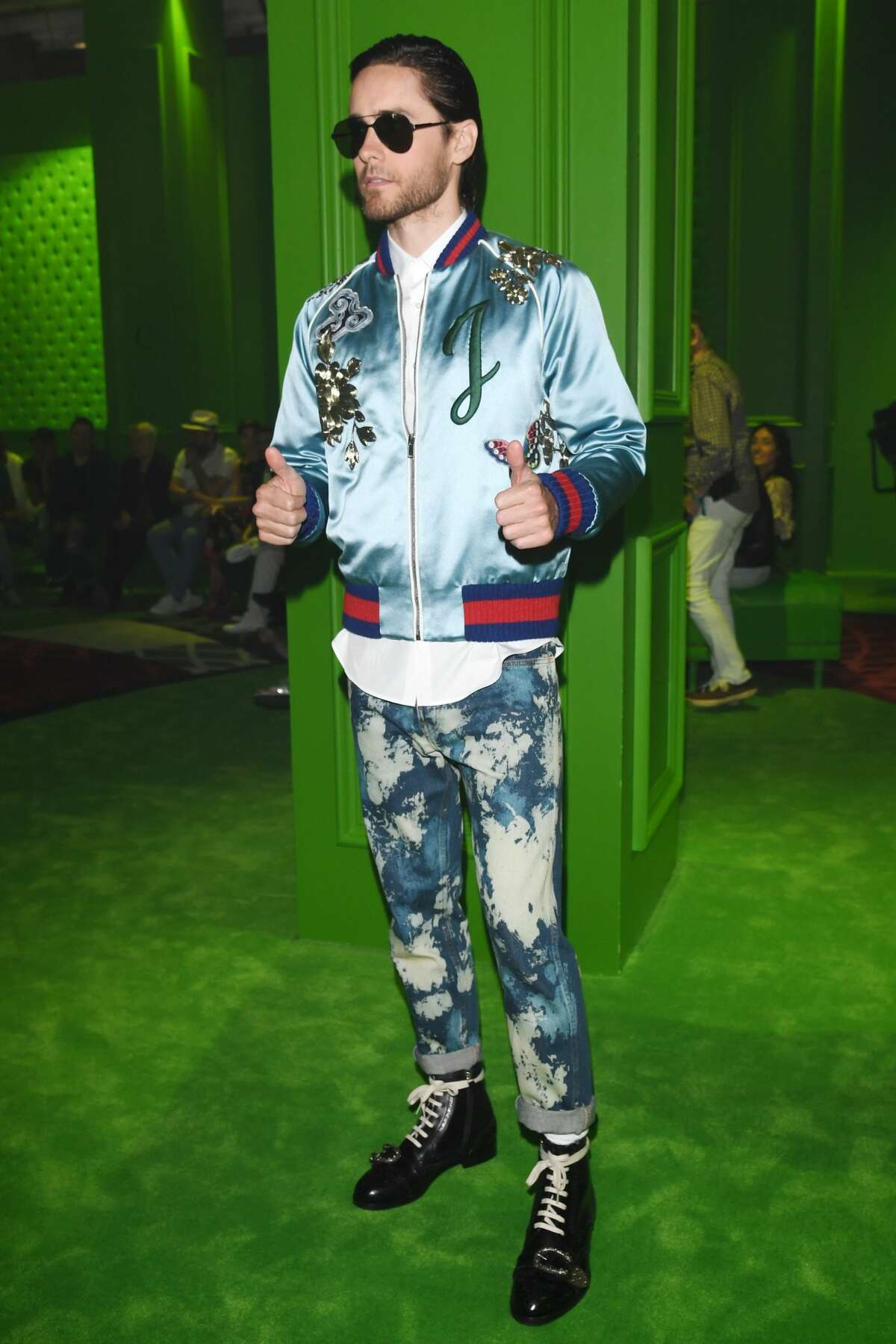 Best: Jared Leto is the male fashion king at the Gucci show in Milan.