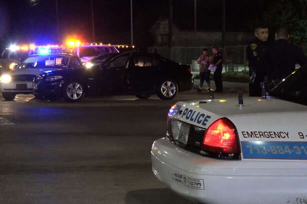 A Houston police chase that ended in northeast Houston on Friday night left one innocent motorist injured and at least two men in handcuffs on Friday June 24, 2016.