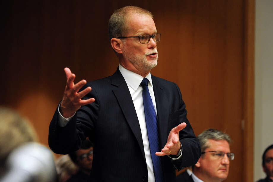 James Voghts, defense attorney for Remington Arms speaks in Superior Court in Bridgeport, Conn., Monday, June 20, 2016. Superior Court Judge Barbara Bellis heard arguments brought to dismiss a wrongful death lawsuit against a rifle maker over the Sandy Hook Elementary School massacre. Photo: Ned Gerard / Hearst Connecticut Media / Connecticut Post