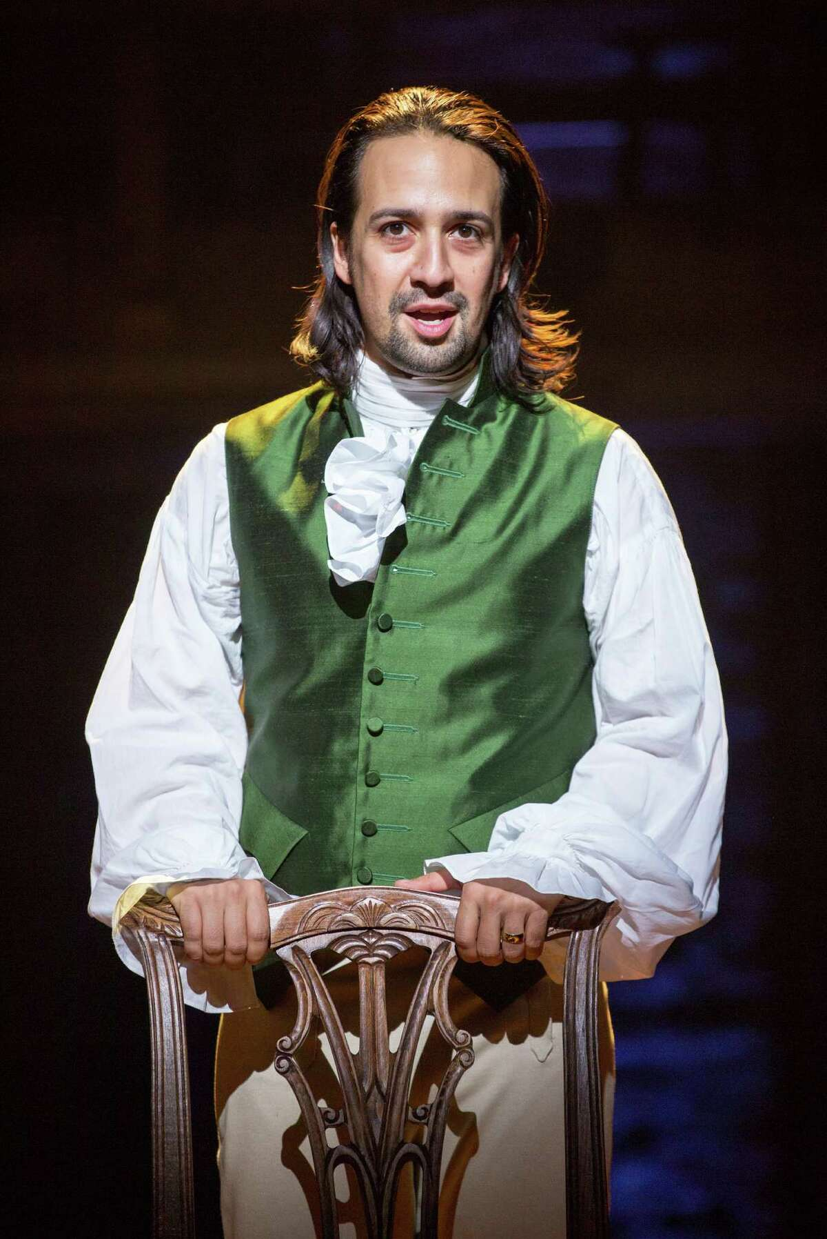 """FILE -- Lin-Manuel Miranda in the title role of the Broadway musical """"Hamilton"""" at the Richard Rodgers Theater in New York, July 11, 2015. Even among historians who love the musical and its multiethnic cast, a question has also quietly simmered: does é?'Hamiltoné?"""" really get Hamilton right? (Sara Krulwich/The New York Times)"""