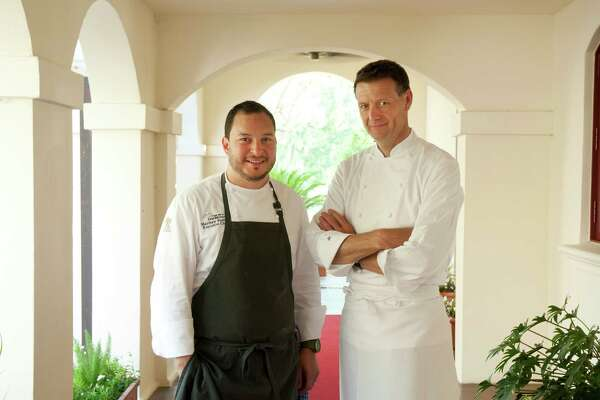 Executive chef Matthew Padilla, left, and visiting chef in residence Jonathan Cartwright oversee the restaurant and meals at the Inn at Dos Brisas, a Relais & Châteaux resort near Brenham.