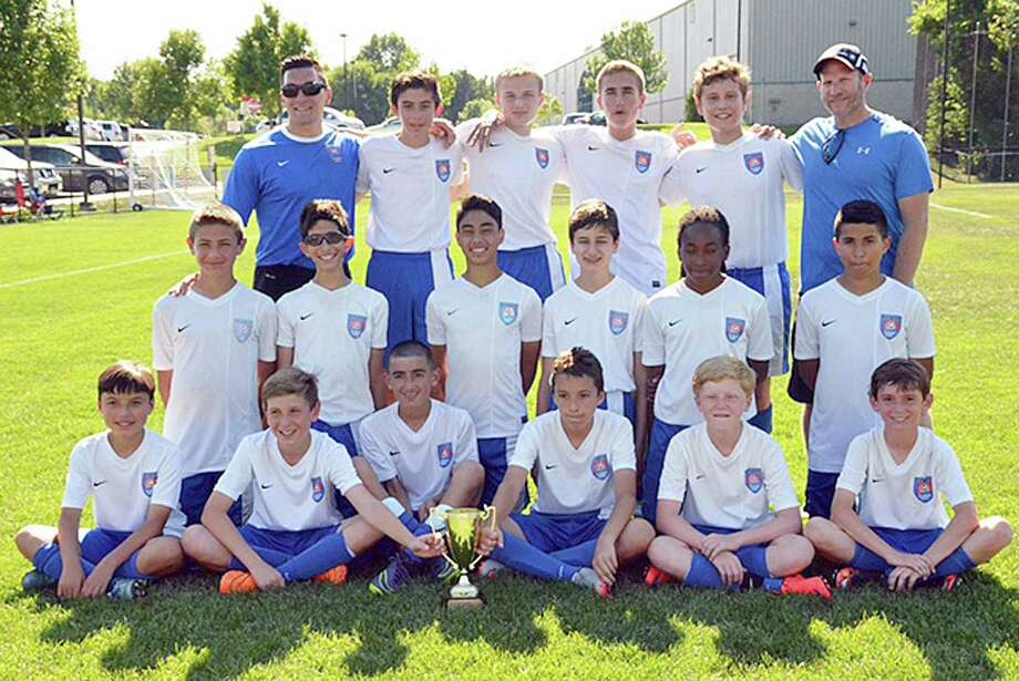 The Norwalk Youth Soccer Association U-13 team won the Connecticut Cup title this spring. Team members include, front row, from left, Leo Guzman, Max Papadatos, Evan Mallios, Konrad Zapert, Emmett McGurren, and Bobby Fosina; middle row, from left, Chris Papadopoulos, Sean Morey, Will Napoleone, Ryan Dentchev, Anthony Napoli-Bulteryst, Alex Vargas, and back row, from left, Steve Cenatiempo (head coach), Vasilios Kirazidis, Aaron Lowenbein, Cristian Trofa, Avi Hurwitz, and assitant coach Eric Lowenbein. Photo: Contributed Photo / Hearst Connecticut Media / Connecticut Post