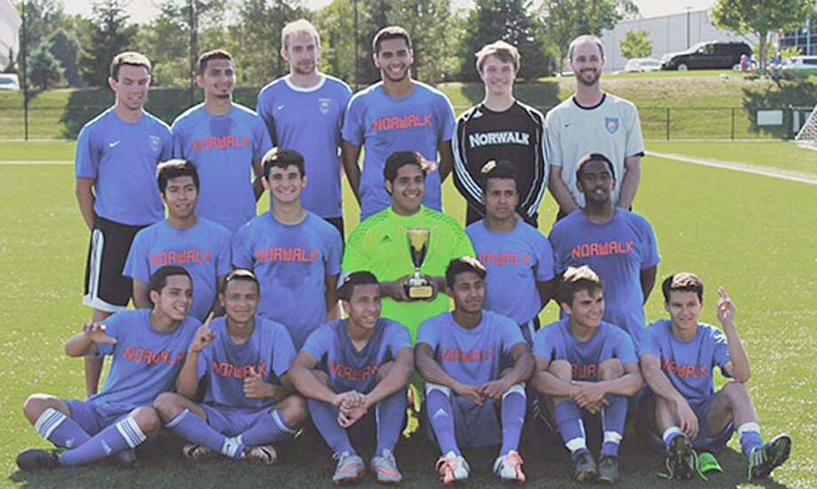 The Norwalk Youth Soccer Association's U-19 boys team won the Connecticut Cup title this spring season. Team membes include, front row, from left, Miguel Argueta, Edwin Villalobos, Sebastian Echeverri, Edinson Pena, Jose Carvajal, and Alex Cano; middle row, from left, Jorge Aquilar, George Kutrubis, Nick Ceja, Cristian Moncada, and Jordan Ellis-Sayleigh, and back row, from left, Mike Lepoutre (assistant coach), Patrick Barrantes, Chris Docherty (assistant coach), Loizos Karaiskos, Cole Judkins, Chris Laughton (head coach). Photo: Contributed Photo / Hearst Connecticut Media / Connecticut Post