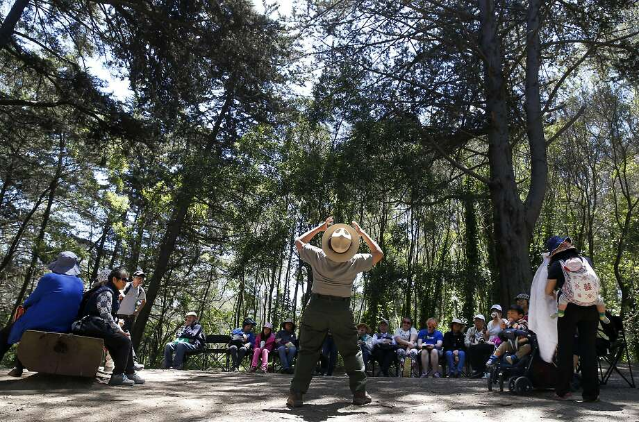 Ranger Fatima Colindres leads an interpretive hike on the Presidio's Ecology Trail as part of the parks-library program. Photo: Paul Chinn, The Chronicle