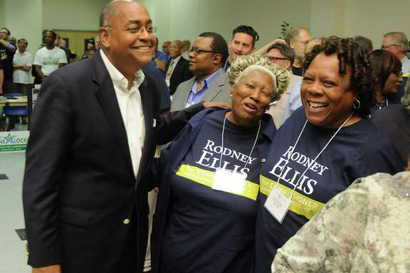 Rodney Ellis smiles with supporters Rose Yarborough Cochran and Betty Jean Keller after winning the vote and becoming Precinct 1 Commissioner at a meeting of Harris County Precinct 1 Chairs at CWA Local 6222 downtown Saturday June 25,2016.(Dave Rossman Photo)